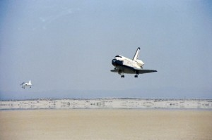 Columbia landing at Edwards AFB at the conclusion of STS-1.
